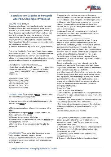 Advérbio, Conjunção e Preposição - Projeto Medicina