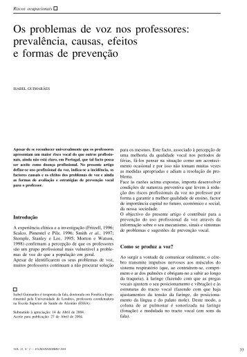 Os problemas de voz nos professores: prevalência, causas, efeitos ...