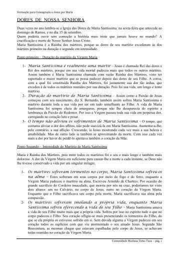 DORES DE NOSSA SENHORA - Missão Padre Pio