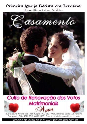 Culto de Renovação dos Votos Matrimoniais - pib teresina