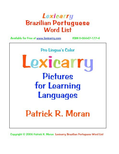 Pictures For Learning Languages Patrick R Moran Lexicarry