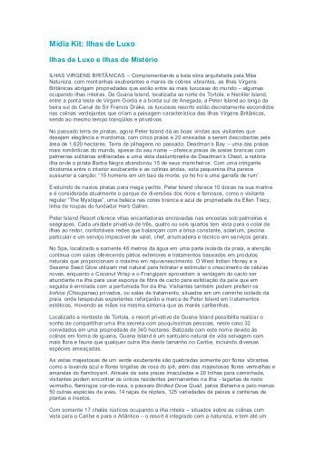 Média Kit: Ilhas de Luxo