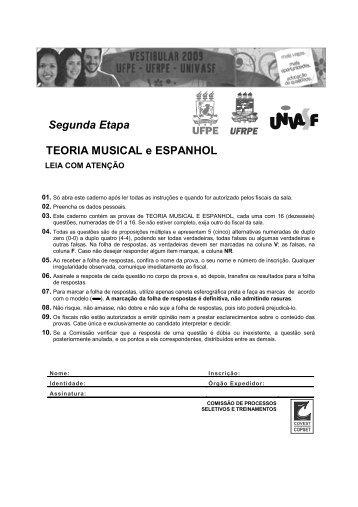 Segunda Etapa TEORIA MUSICAL e ESPANHOL - Vieirafilho.com.br