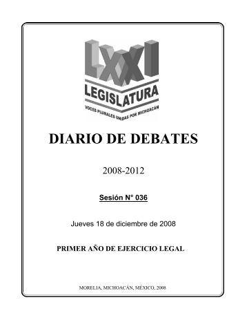 diario de debates - H. Congreso del Estado de Michoacan de Ocampo