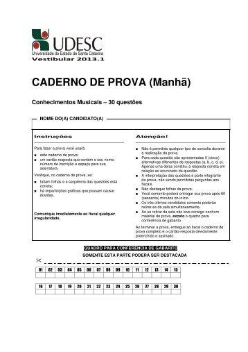 CADERNO DE PROVA (Manhã) - Udesc