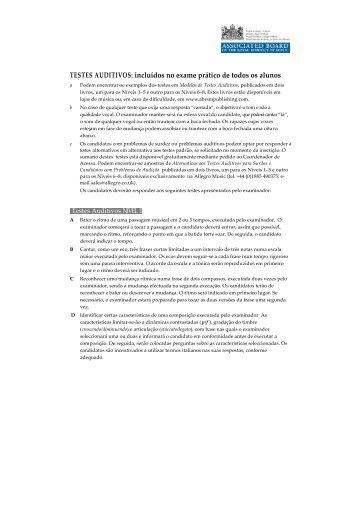 TESTES AUDITIVOS: incluídos no exame prático de todos ... - ABRSM