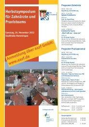 Programm und Anmeldung - Zahnärztlicher Bezirksverband ...