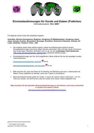 Einreisebestimmungen für Hunde und Katzen (Frettchen)
