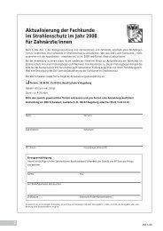 Aktualisierung der Fachkunde im Strahlenschutz im Jahr 2008 für ...