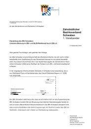 Klarstellung des ZBV Schwaben - Zahnärztlicher  Bezirksverband ...