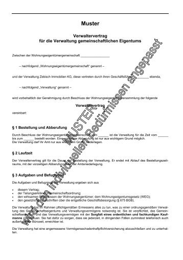 muster zebisch immobilien kg - Geschaftsbesorgungsvertrag Muster