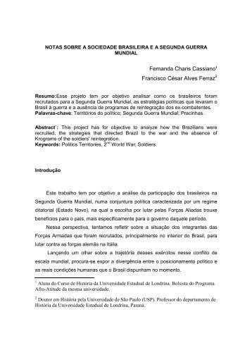 notas sobre a sociedade brasileira e a segunda guerra