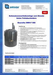 Flyer SWH-F 500 - Zehnder Pumpen GmbH