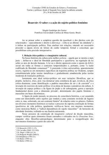 Beauvoir: O saber e a ação do sujeito político ... - I Jornadas, 2009