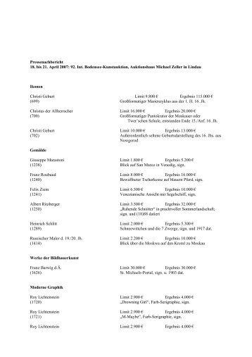 Pressenachbericht 18. bis 21. April 2007 - Auktionshaus Michael ...