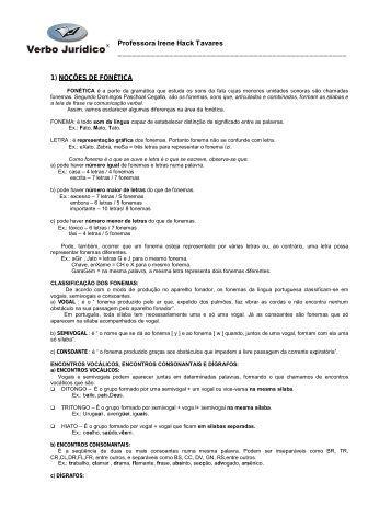 Professora Irene Hack Tavares 1) NOÇÕES DE FONÉTICA