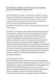 Architekturwettbewerb Alterszentrum Gremm: Zürcher ... - Teufen