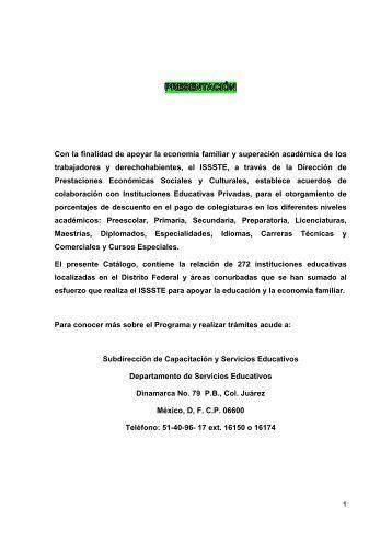 Catálogo de Descuento en Colegiaturas - issste