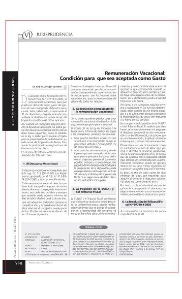 Remuneración Vacacional - Revista Actualidad Empresarial