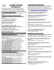 HONORS COURSES AUTUMN 2011 - Davidson Honors College