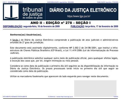 tj-go diário da justiça eletrônico - edição 278 - seção i