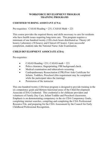 WORKFORCE DEVELOPMENT PROGRAM TRAINING PROGRAMS ...