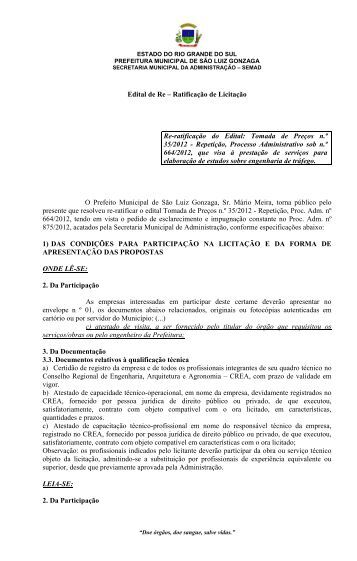 Re-ratificação do Edital: Tomada de Preços n.º 35/2012