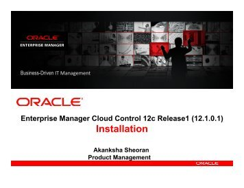 Enterprise Manager Cloud Control 12c Release1 (12.1.0.1) - Oracle