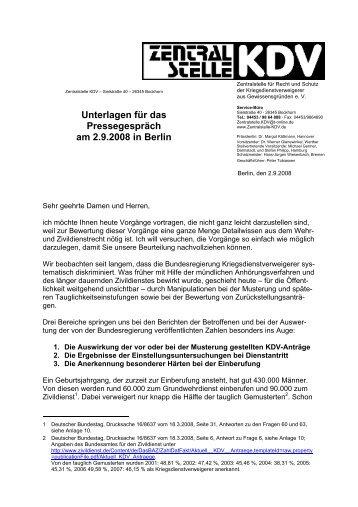 Unterlagen für das Pressegespräch am 2.9.2008 ... - Zentralstelle KDV