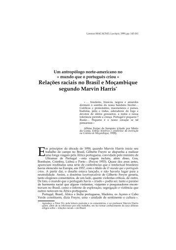 Relações raciais no Brasil e Moçambique segundo ... - Lusotopie