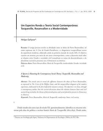 Tocqueville, Rosanvallon ea Modernidade - fflch - USP