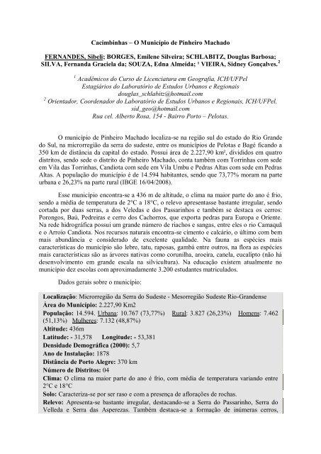 Cacimbinhas – O Município de Pinheiro Machado FERNANDES ...