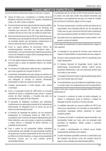 CONHECIMENTOS ESPECÍFICOS - CESPE / UnB