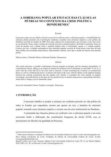 a soberania popular em face das cláusulas pétreas - Fa7