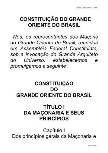 CONSTITUIO DO GRANDE ORIENTE DO BRASIL