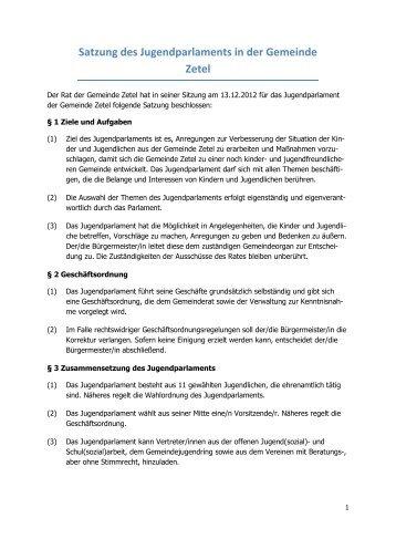 Satzung des Jugendparlaments in der Gemeinde Zetel