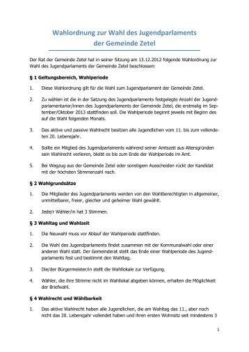 Wahlordnung zur Wahl des Jugendparlaments der Gemeinde Zetel