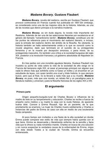 Madame Bovary. Gustave Flaubert El argumento - Colegio Lourdes