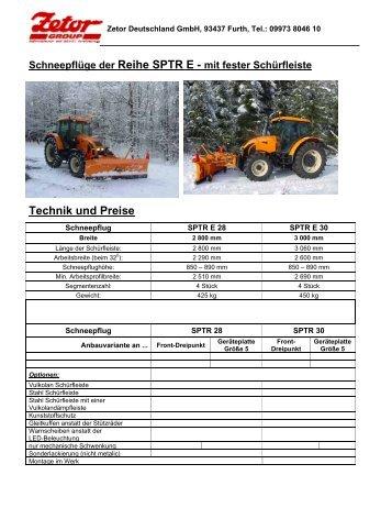 Schneepflüge SPTR E mit fester Schürfleiste in PDF - Zetor ...