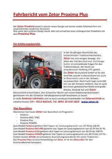 Lesen Sie unseren Fahrbericht (253 kB) - Zetor  Deutschland GmbH