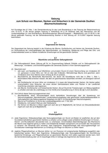 Baumschutzsatzung 2007 Gemeinde Zeuthen -  in der Gemeinde ...