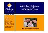Unternehmensbefragung zur Vereinbarkeit von Beruf und Familie