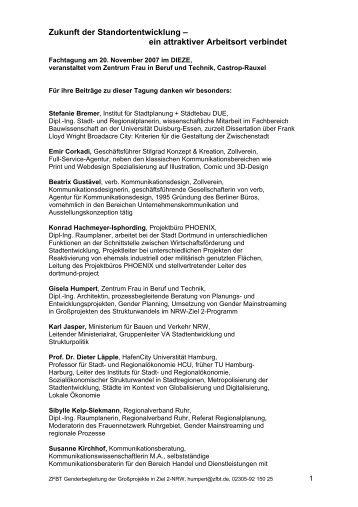 Zukunft der Standortentwicklung - Zentrum Frau in Beruf und Technik