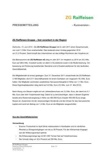 13 Juni 2012: Pressemitteilung Bilanz ... - ZG Raiffeisen