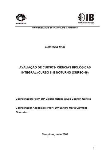 Relatório final AVALIAÇÃO DE CURSOS- CIÊNCIAS BIOLÓGICAS ...