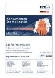 Call for Presentations - Ihr Beitrag zum Erfolg der Veranstaltung - Zgv