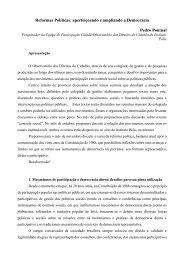 Reformas Políticas: aperfeiçoando e ampliando a ... - Instituto Pólis