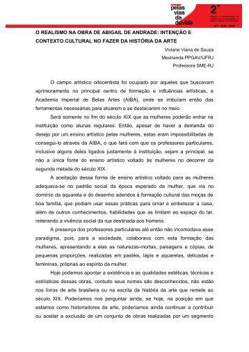 O REALISMO NA OBRA DE ABIGAIL DE ANDRADE: INTENÇÃO E ...