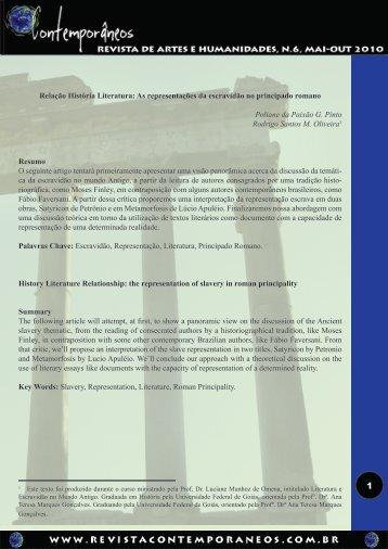 Relação História Literatura - Revista Contemporâneos