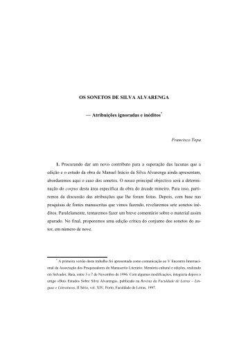 OS SONETOS DE SILVA ALVARENGA - Universidade do Porto
